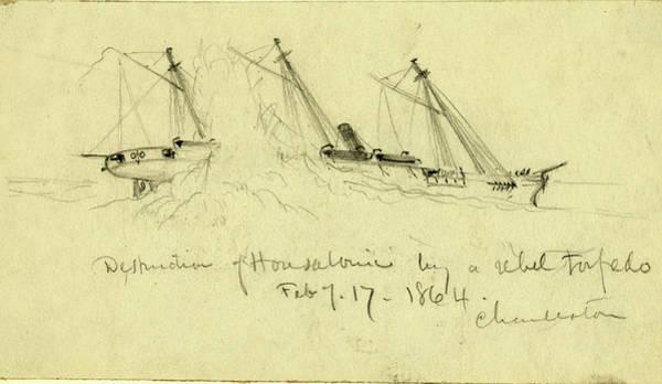 Feb Wall Art - Drawing - Destruction Of Housatonic By A Rebel Torpedo by Quint Lox