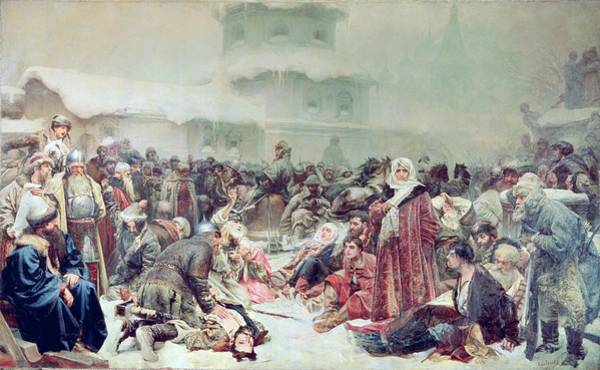 Siege Photograph - Destruction Of Novgorod By Tsar Ivan IIi 1440-1505 1889 Oil On Canvas by Klavdiy Vasilievich Lebedev