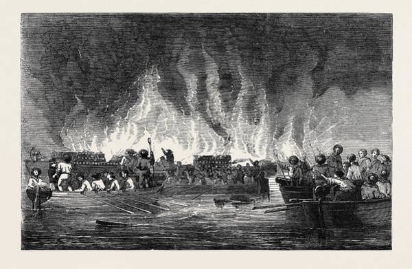 Old Style Drawing - Destruction Of Russian Vessels At Old Salis by English School