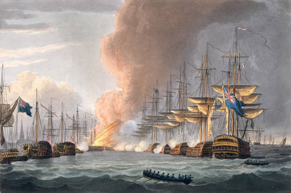 Wall Art - Drawing - Destruction Of The Danish Fleet by Thomas Whitcombe