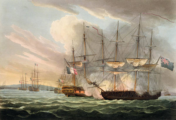 Warfare Drawing - Destruction Of The French Fleet by Thomas Whitcombe