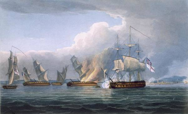 Warfare Drawing - Destruction Of The French Frigates by Thomas Whitcombe