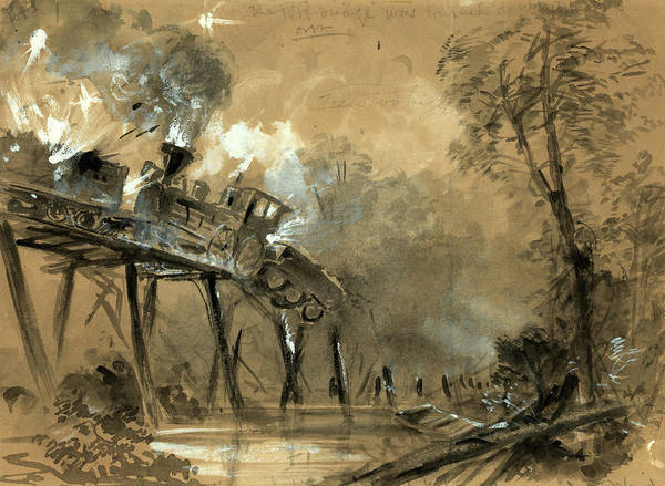 Locomotive Drawing - Destruction Of The Locomotives On The Bridge by Quint Lox