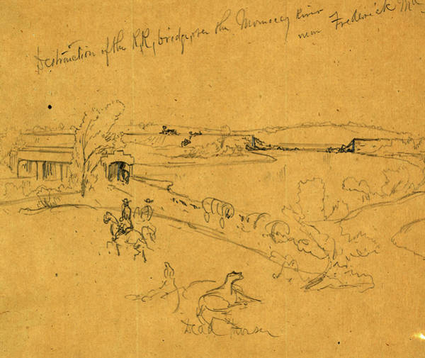 Monocacy Wall Art - Drawing - Destruction Of The R.r. Bridge, Over The Monocacy River by Quint Lox