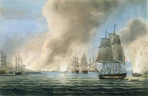 Warfare Drawing - Destruction Of The Turkish Fleet by Thomas Whitcombe