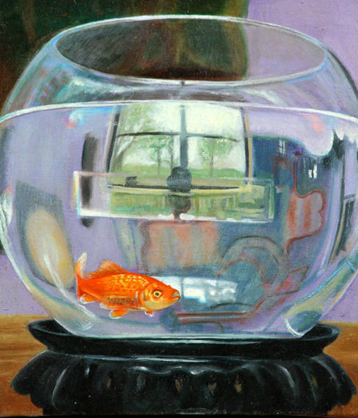 Painting - detail fish bowl of Fishing by Anne Cameron Cutri