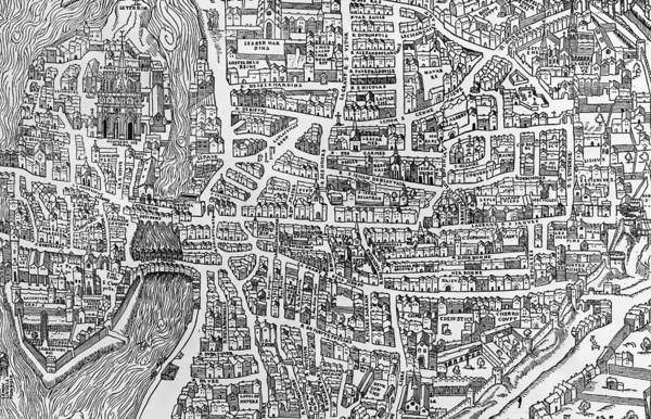 Wall Art - Photograph - Detail From A Map Of Paris In The Reign Of Henri II Showing The Quartier Des Ecoles, 1552 Engraving by French School