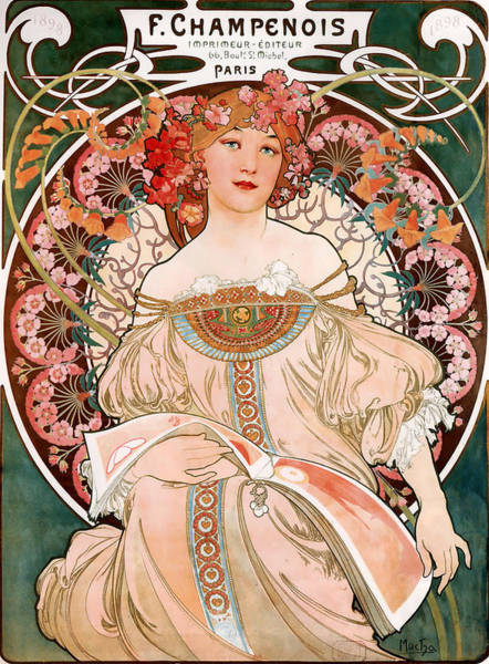 Alphonse Mucha Painting - Detail From Mucha Champenoise Poster by Philip Ralley