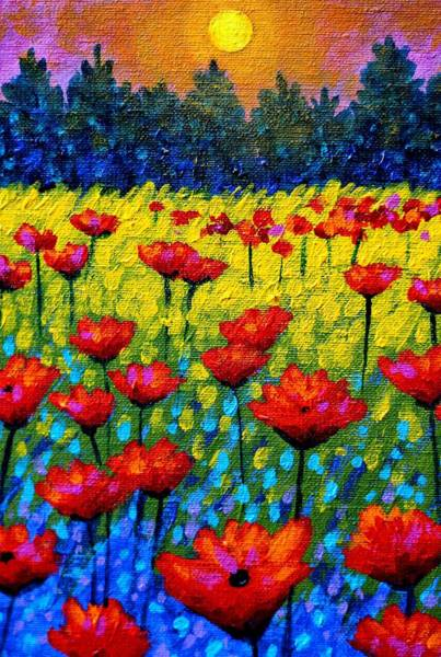 Homage Wall Art - Painting - Detail From Twilight Poppies  by John  Nolan