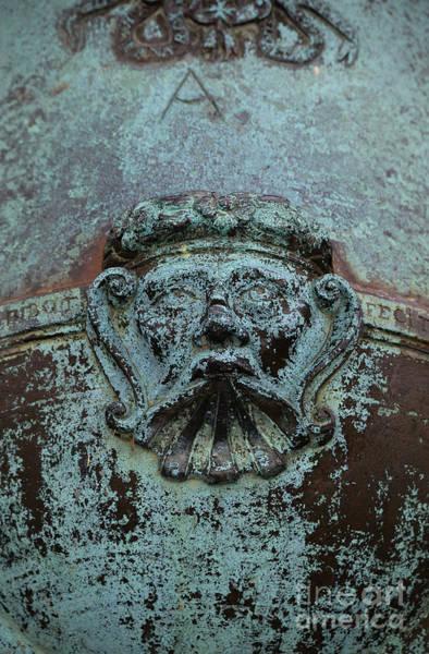 Photograph - Detail Of A Bronze Mortar by Edward Fielding