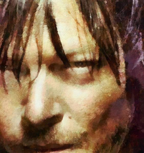 The Walking Dead Painting - Detail Of Daryl Dixon  by Janice MacLellan