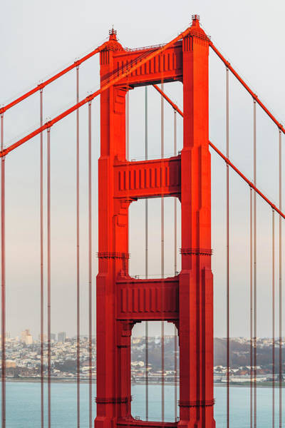 Vertical Landscape Photograph - Detail Of Golden Gate Bridge, San by Deimagine