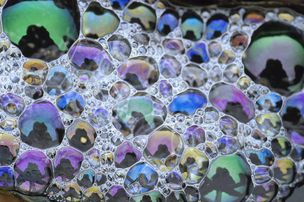 Photograph - Detail Of Rainbow-colored Bubbles by Tim Fitzharris