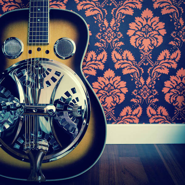 Rock Music Photograph - Detail Of Resonator Guitar And Damask by Naphtalina
