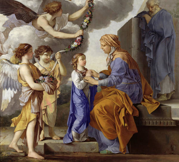 Attending Wall Art - Painting - Detail Of The Education Of The Virgin by Laurent de La Hyre