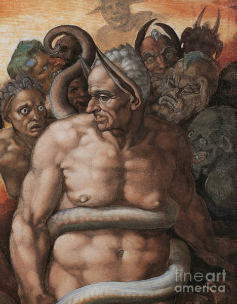 Michelangelo Wall Art - Painting - Detail Of The Last Judgment by Michelangelo