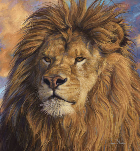 Lions Painting - Watchful Eyes - Detail by Lucie Bilodeau