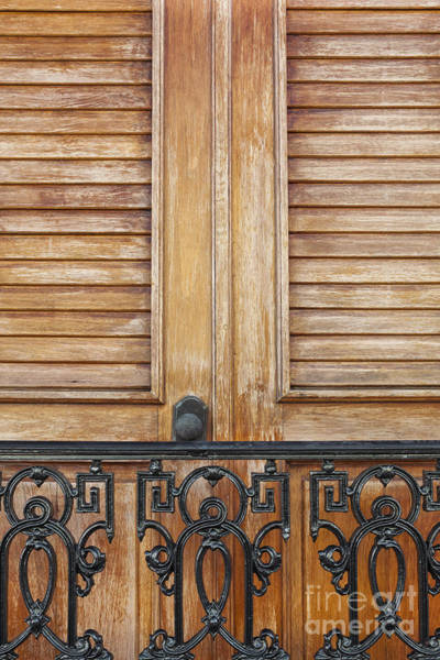 Photograph - Detail Of Wooden Door And Wrought Iron In Old San Juan Puerto Ric by Bryan Mullennix