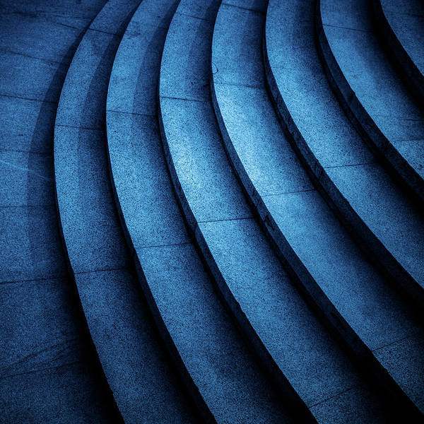 Photograph - Detail Shot Of Stone Stairs In Blue Tone by Fanjianhua