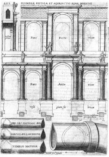 Wall Art - Drawing - Detailed Plans Of  Roman Aqueducts by Mary Evans Picture Library