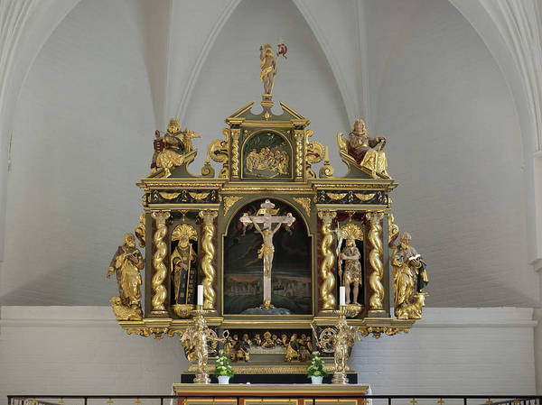 Crucifixion Of Jesus Photograph - Details Of Altar In Budolfi Church by Panoramic Images