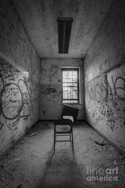 Urbex Wall Art - Photograph - Detention Room Bw by Michael Ver Sprill