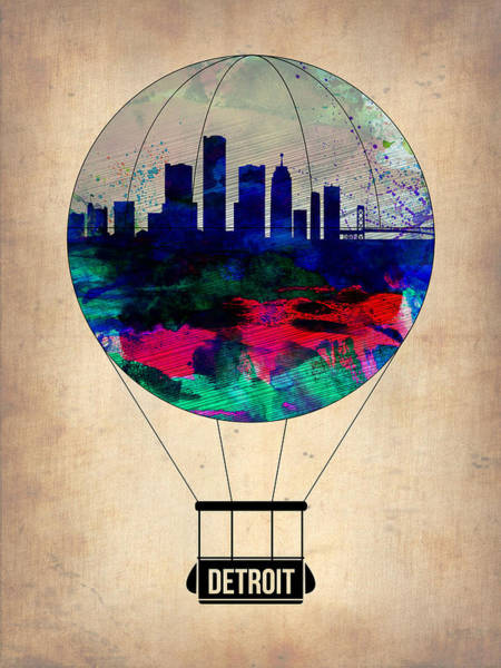 Cityscapes Wall Art - Painting - Detroit Air Balloon by Naxart Studio