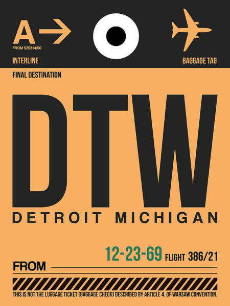 Capital Wall Art - Digital Art - Detroit Airport Poster 1 by Naxart Studio