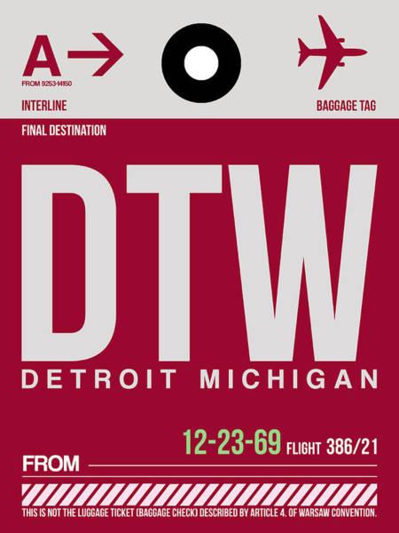 Airport Wall Art - Digital Art - Detroit Airport Poster 2 by Naxart Studio
