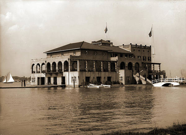 Michigan Drawing - Detroit Boat Club, Belle Isle Park, Boat Clubs, Clubhouses by Litz Collection