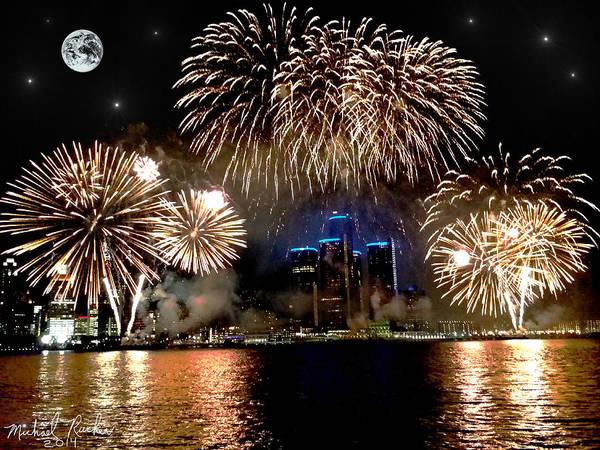 Detroit Fireworks Art Print by Michael Rucker