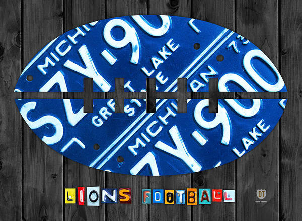 Lion Mixed Media - Detroit Lions Football Vintage License Plate Art by Design Turnpike