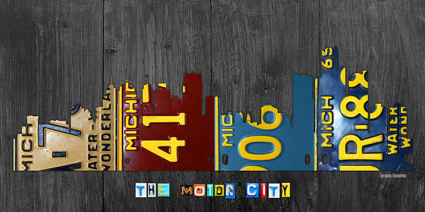 Motor Mixed Media - Detroit Michigan City Skyline License Plate Art The Motor City by Design Turnpike