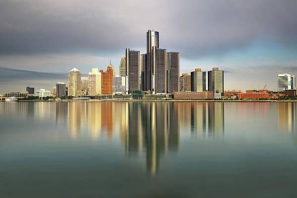 Wall Art - Photograph - Detroit Michigan Skyline Reflections by Linda Goodhue Photography