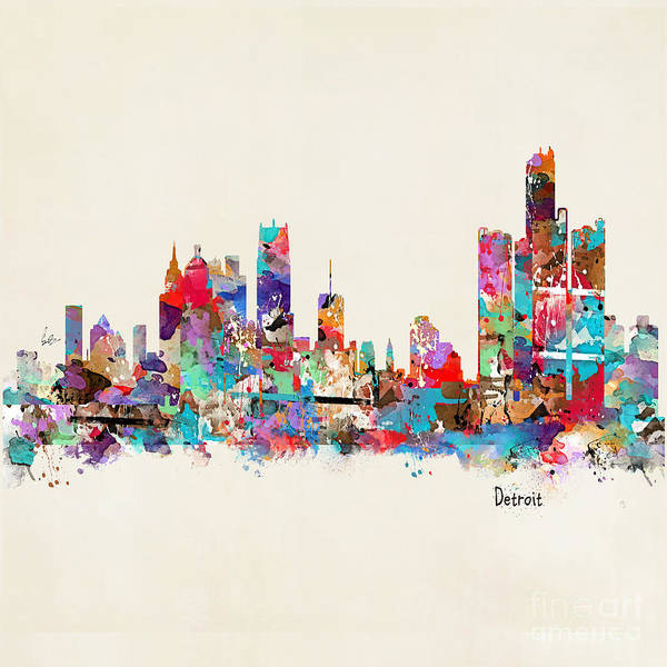 Michigan Painting - Detroit Michigan Skyline Square by Bri Buckley