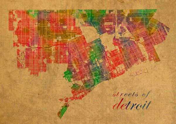 Schematic Wall Art - Mixed Media - Detroit Michigan Street Map Schematic Watercolor On Worn Parchment by Design Turnpike