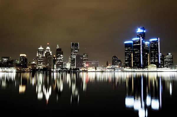 City Scape Photograph - Detroit Night Skyline by Alanna Pfeffer