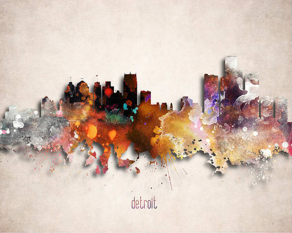 Detroit Skyline Digital Art - Detroit Painted City Skyline by World Art Prints And Designs