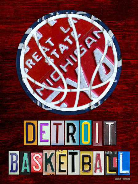 Recycling Mixed Media - Detroit Pistons Basketball Vintage License Plate Art by Design Turnpike