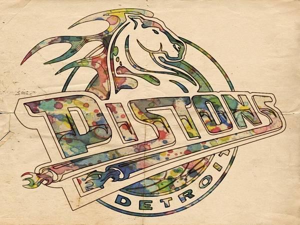 Slamdunk Painting - Detroit Pistons Retro Poster by Florian Rodarte