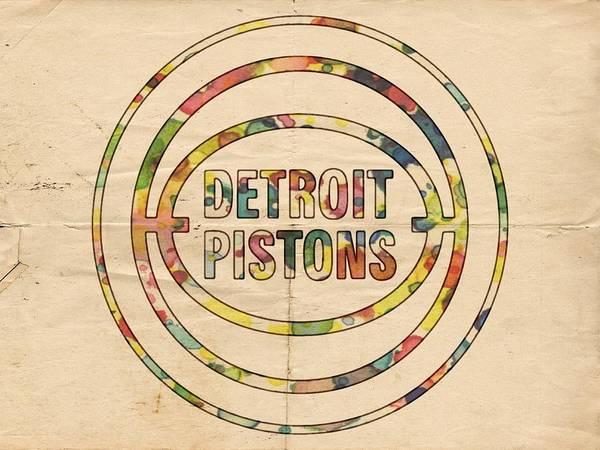 Slamdunk Painting - Detroit Pistons Vintage Logo by Florian Rodarte