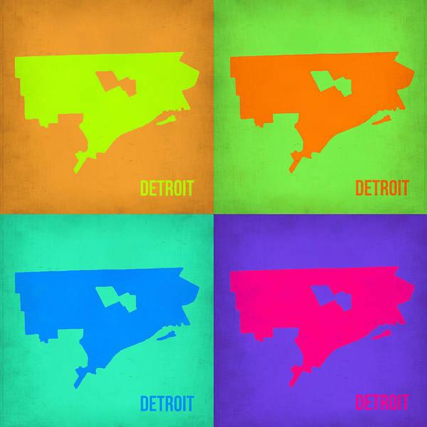 Detroit Wall Art - Painting - Detroit Pop Art Map 1 by Naxart Studio