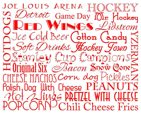 Digital Art - Detroit Red Wings Game Day Food 1 by Andee Design