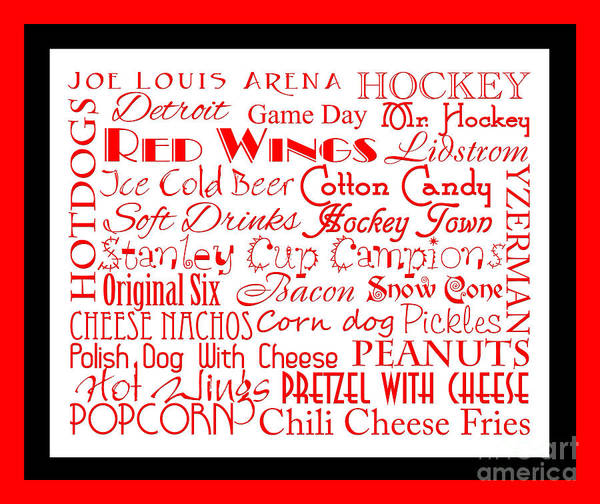 Digital Art - Detroit Red Wings Game Day Food 2 by Andee Design