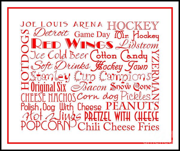 Digital Art - Detroit Red Wings Game Day Food 3 by Andee Design