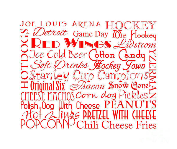 Digital Art - Detroit Red Wings Game Day Food 4 by Andee Design