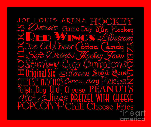 Digital Art - Detroit Red Wings Game Day Food 5  by Andee Design