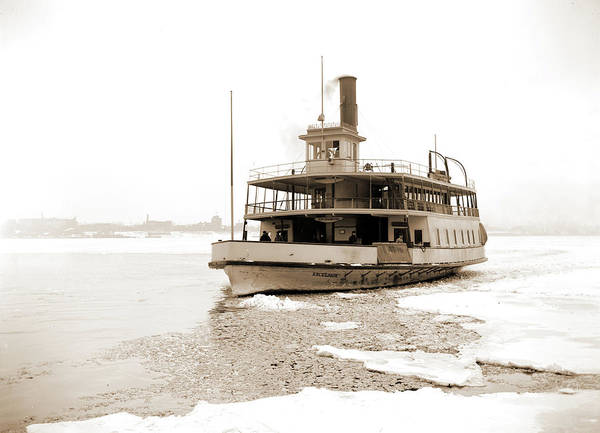 Michigan Drawing - Detroit River Ferry Boat In Ice, Excelsior Ferry Boat, Ice by Litz Collection