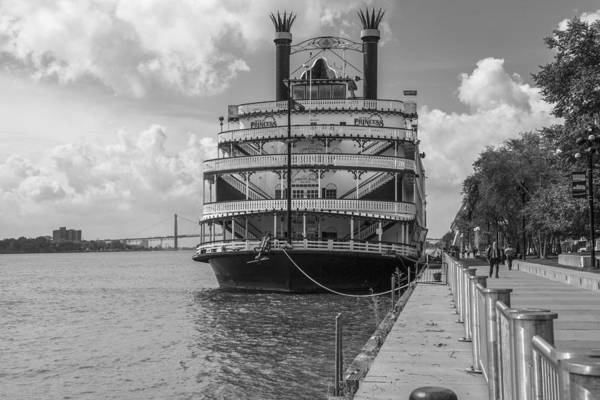Detroit River Princess Black And White  Art Print