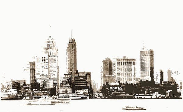 Michigan Drawing - Detroit, Rivers, Skyscrapers, United States by Litz Collection